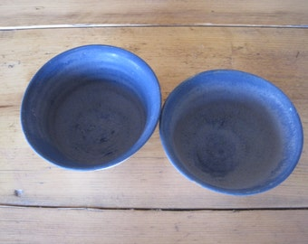 two stoneware blue bowls - multi-use