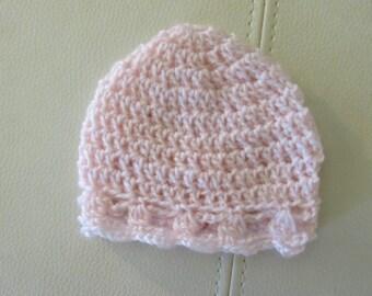 Pink Newborn Baby Hat (0 to 3mos)