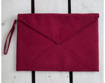 "Clutch Handbag / purse / Vegan Suede Clutch/ ""Burgundy"""