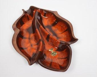 Vintage Sequoia Ware Leaf Separated Serving Dish