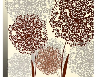 """Cream & Brown Allium Flowers - Canvas Wall Art Print Picture - Framed and Ready to Hang - 20"""" x 20"""" (52cm x 52cm) - by Rubybloom Designs"""