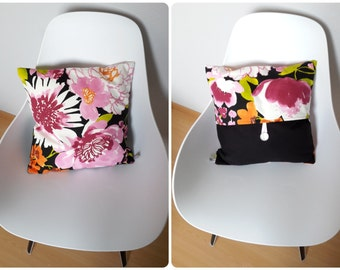 Pillow cover with flowers in pink & gray pattern