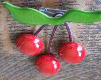 Vintage Cherry Statement Runaway Brooch