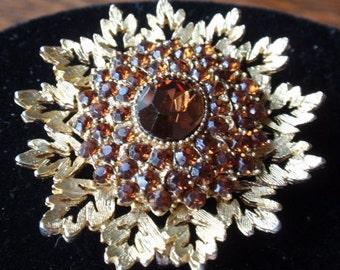 Vintage Amber Rhinestone Brooch from Benedikt of NY