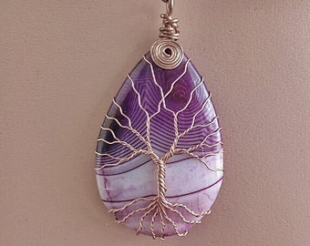 TREE Of LIFE HANDMADE Wire Wrapped Purple Teardrop Stripes Agate Pendant Necklace Copper Patina Purple Teardrop Stripes Agate Pendant