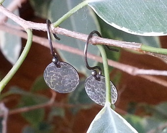 Hammered Round Sterling Silver Earrings