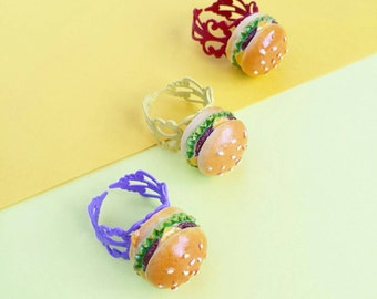Cheeseburger Adjustable Ring -  Hamburger Fast Food Junk Food Burger - YELLOW Filigree Ring