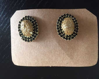 Chic black and gold earrings