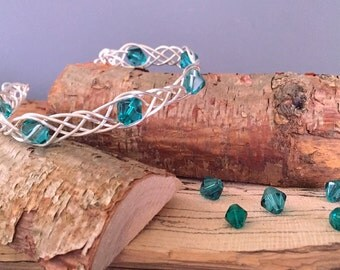 SALE-Braided Cuff Bracelet-Emerald Color Crystal Beads-Beaded