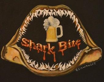 Shark Bite Brew 2,   Beer Art, Bar Art  giclee on Archival Matte Paper and Ink