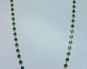 "Raindrops Necklace - Blue Zircon/Gold 36"" Swarovski crystal"