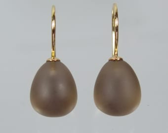 750 gold earrings earrings smoky quartz Pampel unique forged master work
