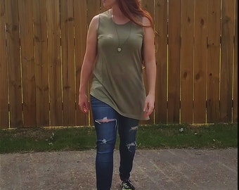 Assymetrical Green Tee