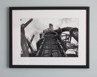 Steel Stacks Steel Mill Machine Black and White Wall Art Photography Print