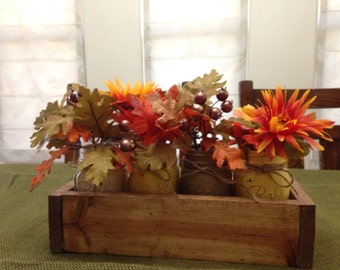 Fall Home Decor, Thanksgiving Centerpiece, Distressed Mason Jars, Wedding Centerpieces, Fall Birthday Gift