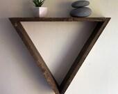 Triangle shelf large triangle shelf geometric wall shelf triangle shelving floating shelf wood wall shelf wood decor wall shelving