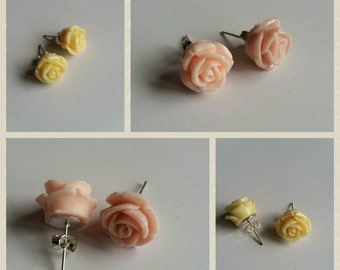Pale coral pink and pale lemon vintage style rose earrings