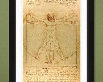Famous Illustration – Vitruvian Man – Leonardo Da Vinci c. 1490 (12x18 Heavyweight Art Print)