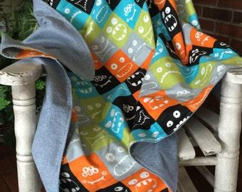 Fleece Baby Blanket / Monster Face Fleece Blanket / Fleece and Flannel / Baby Blanket /  Baby Gift