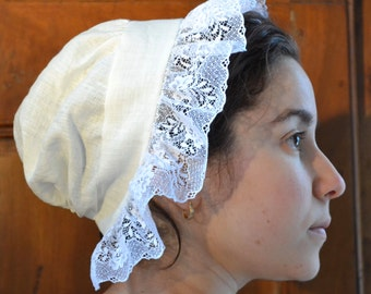 Linen 18th Century ''Mob Cap''  With Lace Border