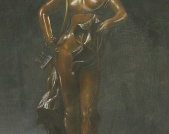 """24""""-20"""" Original Oil Painting On Canvas Bronze Collection"""