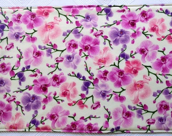 Set of 4 orchid placemats & 2 pot holders, reversible placemats, placemats, linens,cloth placemats, gift, birthday gift