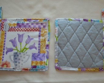Set of 2 pot holders,  heat resistant, quilted pot holders, linens, hot pads