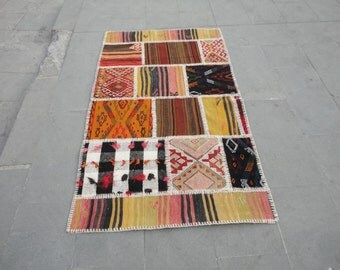 Turkish vintage patch work rug,combination of beautiful art,64 x 37 inches