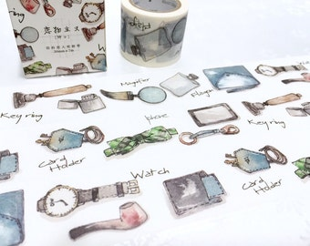businessman male theme washi tape 7M x 3cm stylish man vintage watch iphone pocket wallet card holder decor masking tape man stuff sticker