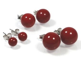 Red Coral Post Earrings, 6-10 or 12mm, Coral Bead Earrings, Dark Red Bead Sterling Silver 925 Earrings, Made in Italy Stud Earrings