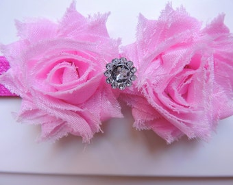 Shabby Chic Pink Flower Headband