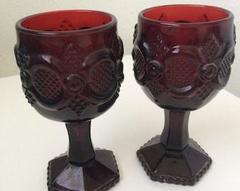 Red Vintage Avon 1876 Cape Cod Glassware - small goblets