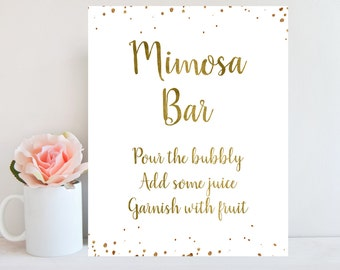 Mimosa Bar Sign, Wedding Bar Sign, Mimosa Bar Printable, Bubbly Sign, Gold Confetti, Bachelorette Party Sign, New Year's Eve, Champagne Sign