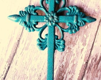 Cast Iron Wall Cross Lagoon Blue Distressed Shabby