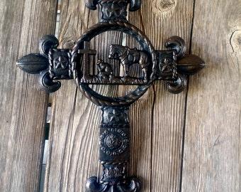 Praying Cowboy Cross, Kneeling Cowboy Cross, Rustic, Western, Wall Cross
