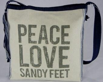 Peace love sandy feet purse, Beach Handbag, Shoulder bag, Handmade handbag, Unique bag, Beach bag, Summer purse, Sandy feet, Hippie purse