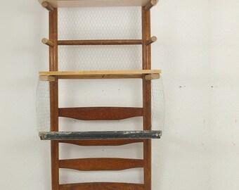 Upcycling shelf half Chair, bathroom shelf, vintage look, wall shelf, with chicken wire, retro look,.
