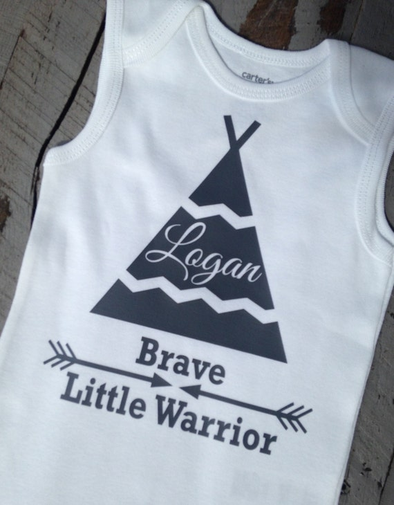 baby boy clothes personalized name brave little warrior tribal