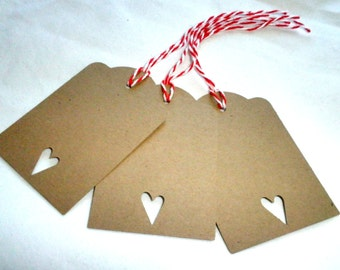 HEART Gift Tags in Brown Kraft Paper Set of 12