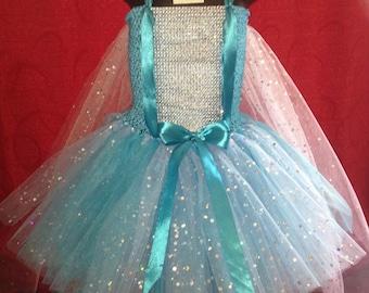 Elsa tutu, Frozen tutu, Elsa dress, Elsa tutu dress, Elsa dress with cape, Ice queen tutu dress, ice blue tutu dress, sequin tutu, long tutu