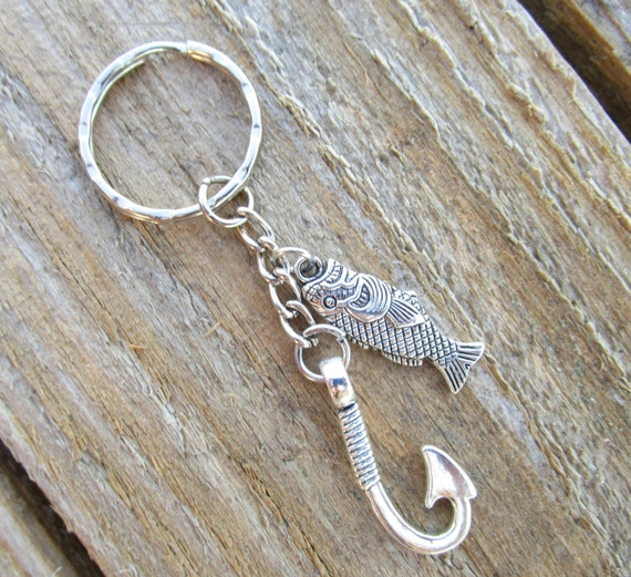 Items similar to fish hook keychain fish keychain for Fish hook keychain