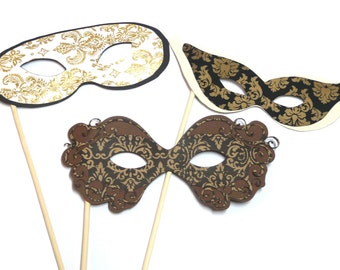Photo Booth Props -  3PC Masquerade Masks Photo Booth Props