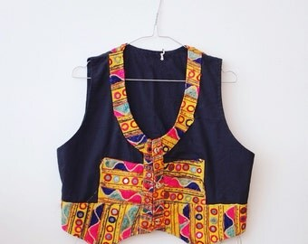 Vintage boho hippie folk vest jacket