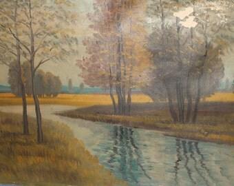 River landscape antique oil painting
