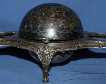 Antique art deco silver plated caviar butter roll top globe bowl