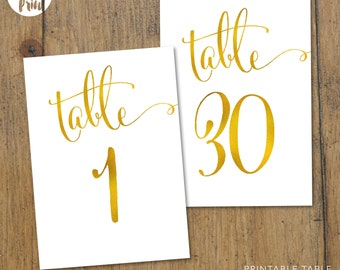 Table Numbers | Cantoni Gold | Wedding Signage | Wedding Accessory | Table Decor | Printable