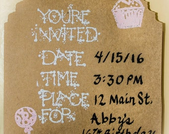 Magnetic Invitations: hand embossed 10 pieces