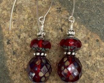 Ruby Red Earrings, Red Earrings, Red Faceted Glass Earrings, Picasso Czech Glass, Cherry Red Dangle Earrings