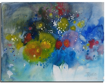 "Abstract Flowers Painting 10""X8"" Original Acrylic painting by Tatjana Ruzin, Abstract Painting Blue Painting, Abstract Art, Birthday Gift"
