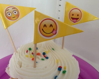 emoji cupcake, topper, party, birthday, cake, toothpick, girls, teens,decorations, flags, yellow 4th of July